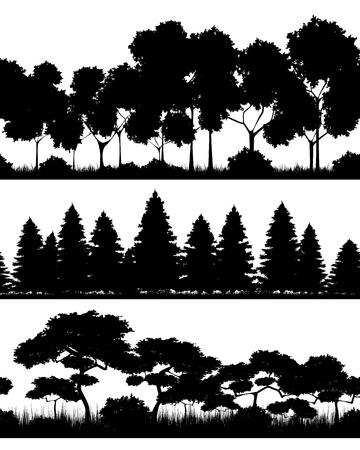 Ilustración vectorial de un tres bosques siluetas