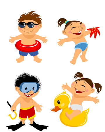 flippers: Vector illustration of a four children on beach
