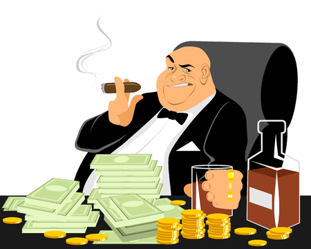 Vector illustration of a rich man smoking Çizim