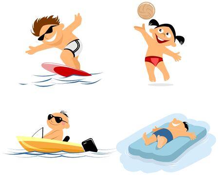 maillot de bain: Vector illustration d'un quatre enfants sur la plage