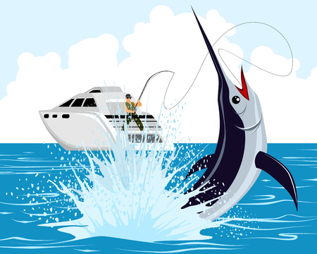 Vector illustration of a fisherman catches marlin
