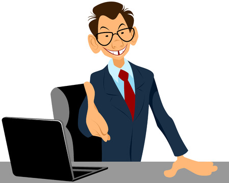 Vector illustration of a businessman holds out hand