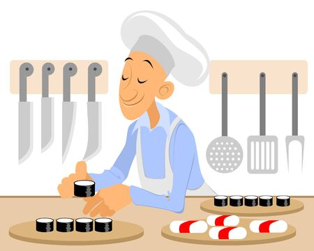 japanese cooking: Vector illustration of a sushi chef in kitchen