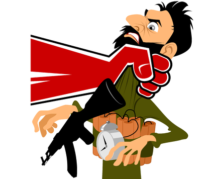 Vector illustration of a terrorist in hand Vectores