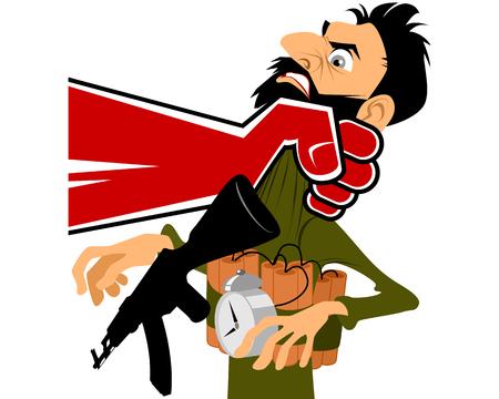 Vector illustration of a terrorist in hand Stock Illustratie