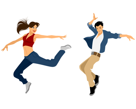 male female: Vector illustration of a guy and girl dancing
