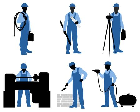 leveling instrument: Vector illustration of a six gardeners silhouettes