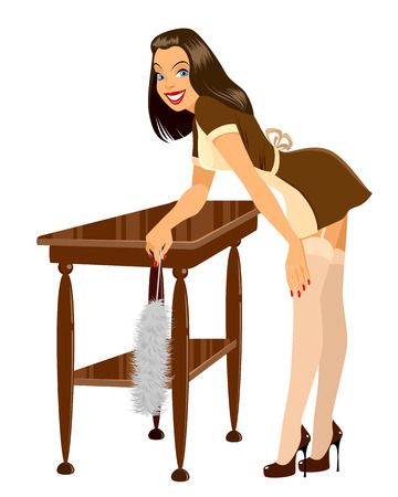 nude girl: Vector illustration of a maid cleaning the room
