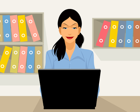 attractive girl: illustration of a woman working in office