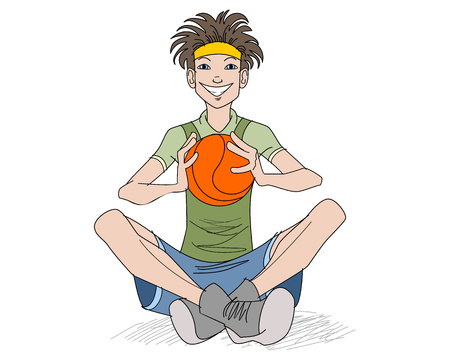 teenager boy: illustration of a teenager with a basketball ball