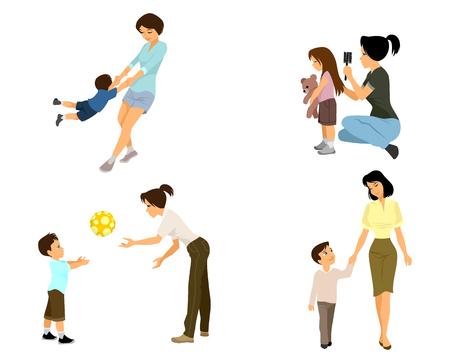 pelota caricatura: ilustraci�n de una madre jugando con ni�o
