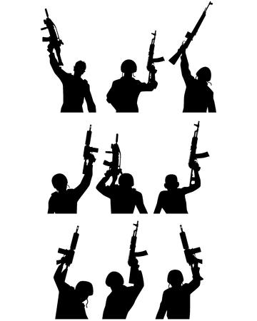 pistolas: Ilustración de un soldados con armas de fuego siluetas