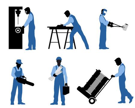 illustration d'un six professionnels silhouettes Vecteurs