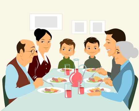 children eating: illustration of a big family eating