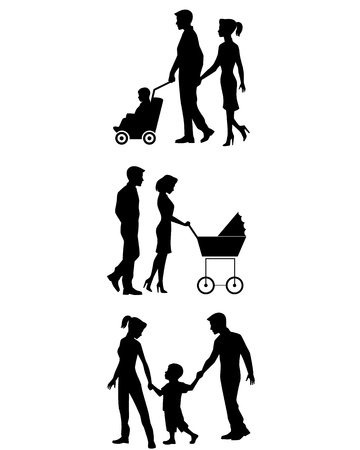 mom and son: illustration of a family on walk set Illustration