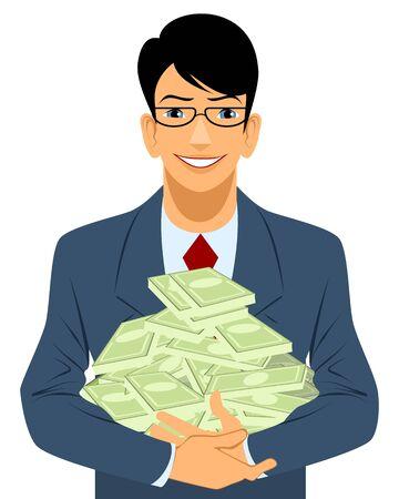 mucho dinero: ilustraci�n de un hombre de negocios con mucho dinero Vectores