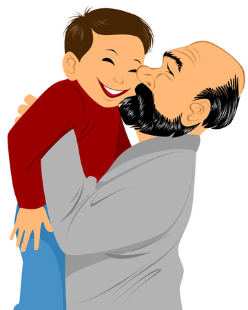 happy family smiling: illustration of a grandfather holds grandson in hands Illustration