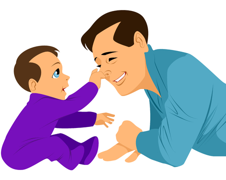 dad and son: illustration of a son grabs fathers nose