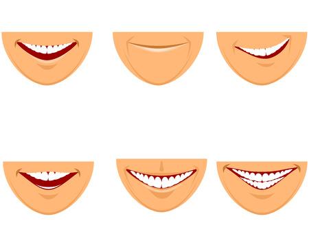 funny faces: illustration of a six mouths set Illustration