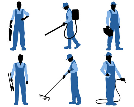 hand wash: illustration of a six professionals silhouettes