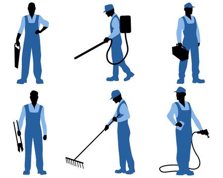 obrero caricatura: ilustraci�n de un siluetas seis profesionales Vectores