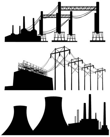 cooling tower: illustration of a three factories silhouettes