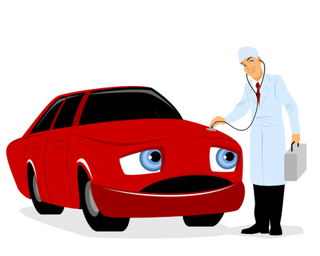 sick in bed: illustration of a doctor inspects a car