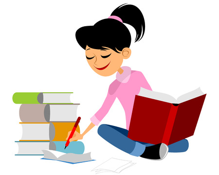illustration of a young girl learning Illustration