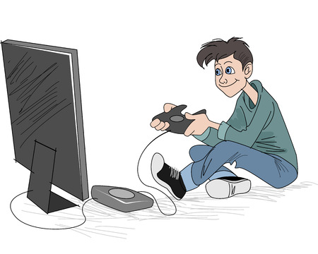 illustration of a young boy playing pc