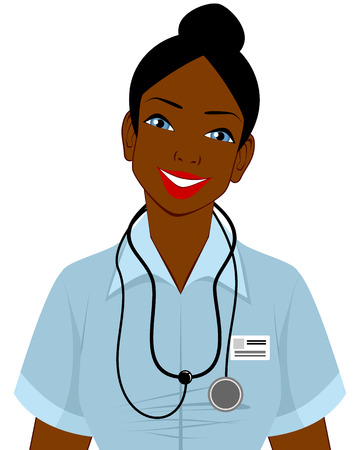 african woman face: illustration of a afro american doctor Illustration