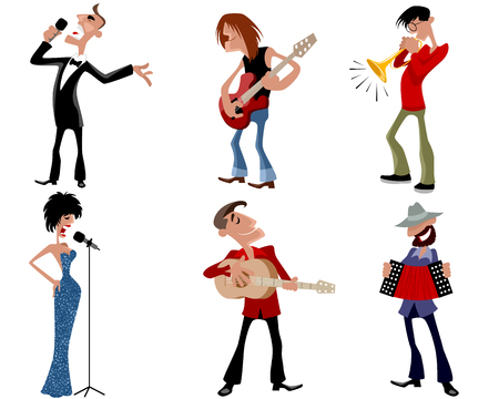 cartoon singing: Vector illustration of a six person of artists