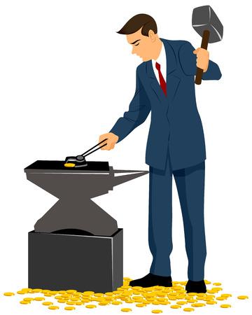 forging: Vector illustration of a businessman forging gold