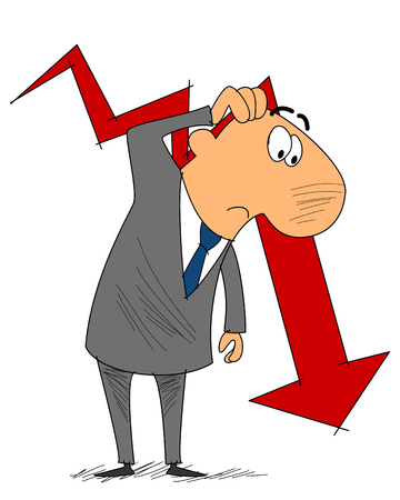 economic depression: Vector illustration of a frustrated businessman with graph Illustration