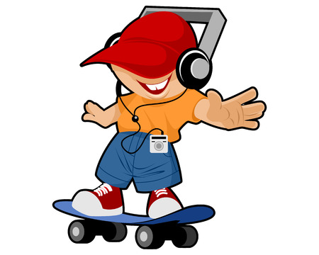 skateboard boy: Vector illustration of a young boy at skateboard Illustration