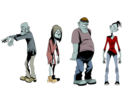 Vector illustration of a four zombies set