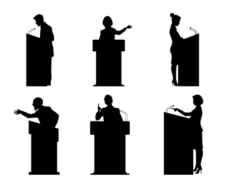 orator: Vector illustration of a six lecturers silhouettes Illustration