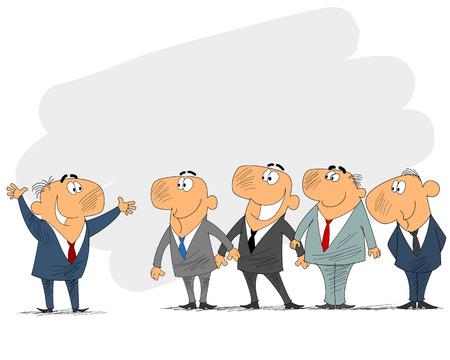 prompting: Vector illustration of a business team and leader Illustration