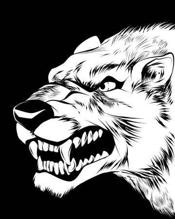 Vector illustration of a wolfish grin on black Illustration