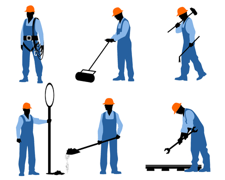 Vector illustration d'un six professionnels silhouettes