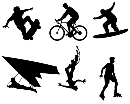 rollerball: Vector illustration of a six teenagers silhouette