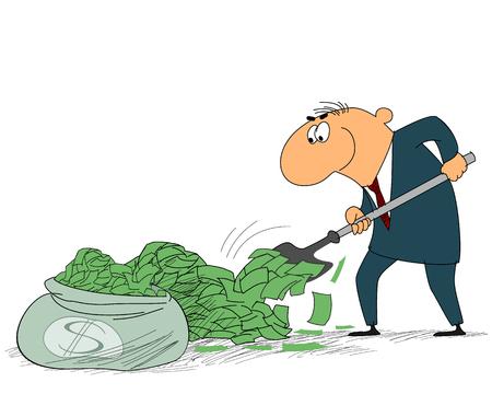 gold shovel: Vector illustration of a businessman with a shovel