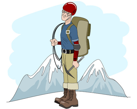 alpinism: Vector illustration of a young climber with rope