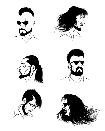 scar: Vector illustration of a six mans faces