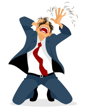 Vector illustratie van een zakenman tearing haar Stock Illustratie