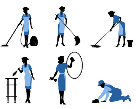 Vector illustration of a six cleaning workers