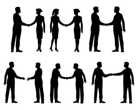 Vector illustratie van een zakenman handdruk silhouetten Stock Illustratie