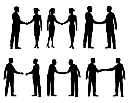 black men: Vector illustration of a businessmen handshake silhouettes