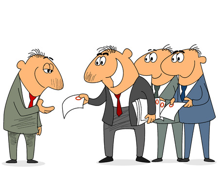 contracts: Vector illustration of a businessman with contracts Illustration