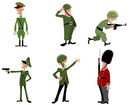 illustrazione vettoriale di un sei soldati set