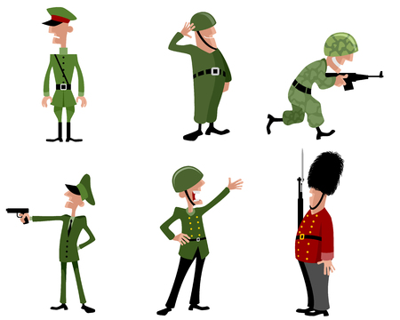 guardsman: Vector illustration of a six soldiers set Illustration